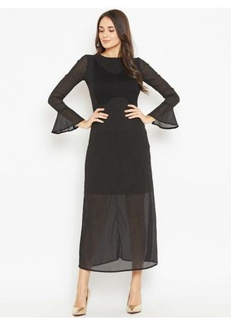 Black color Dresses . See Through Flared Maxi Dress -