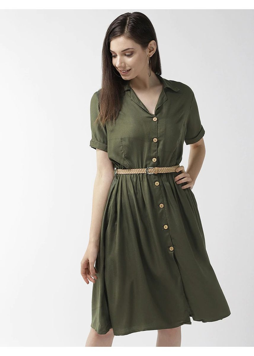Green color Dresses . Flared Collared Dress -