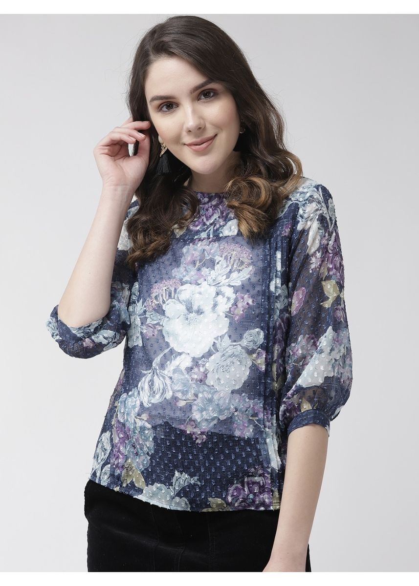 Blue color Tops and Tunics . Women's Floral Full Sleeve Top -