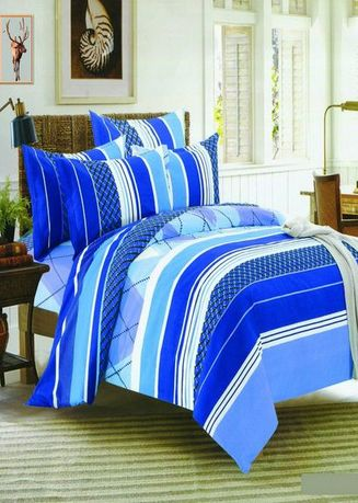 Blue color Bedroom . Celina Home Textiles 3 In 1 Double Cotton Bed Sheet Set Premium Quality BS09-54 -