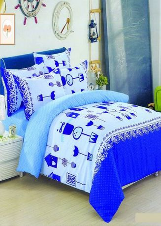 Blue color Bedroom . Celina Home Textiles 3 In 1 Double 54x75 Cotton Bed Sheet Set Premium Quality BS10-54 -