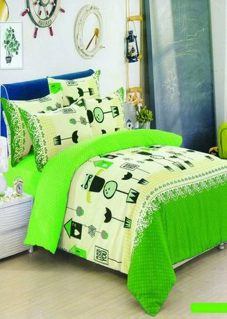 Green color Bedroom . Celina Home Textiles 3 In 1 Queen 60x78 Cotton Bed Sheet Set Premium Quality BS01-60 -