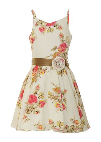 White color Dresses . Naughty Ninos Off-white Printed Floral Dress with Belt -