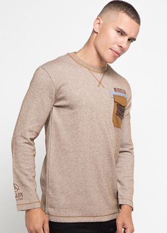 Cokelat color Kaus Oblong & Polo . Emba Classic-Albe Men's T-shirt in Brown -
