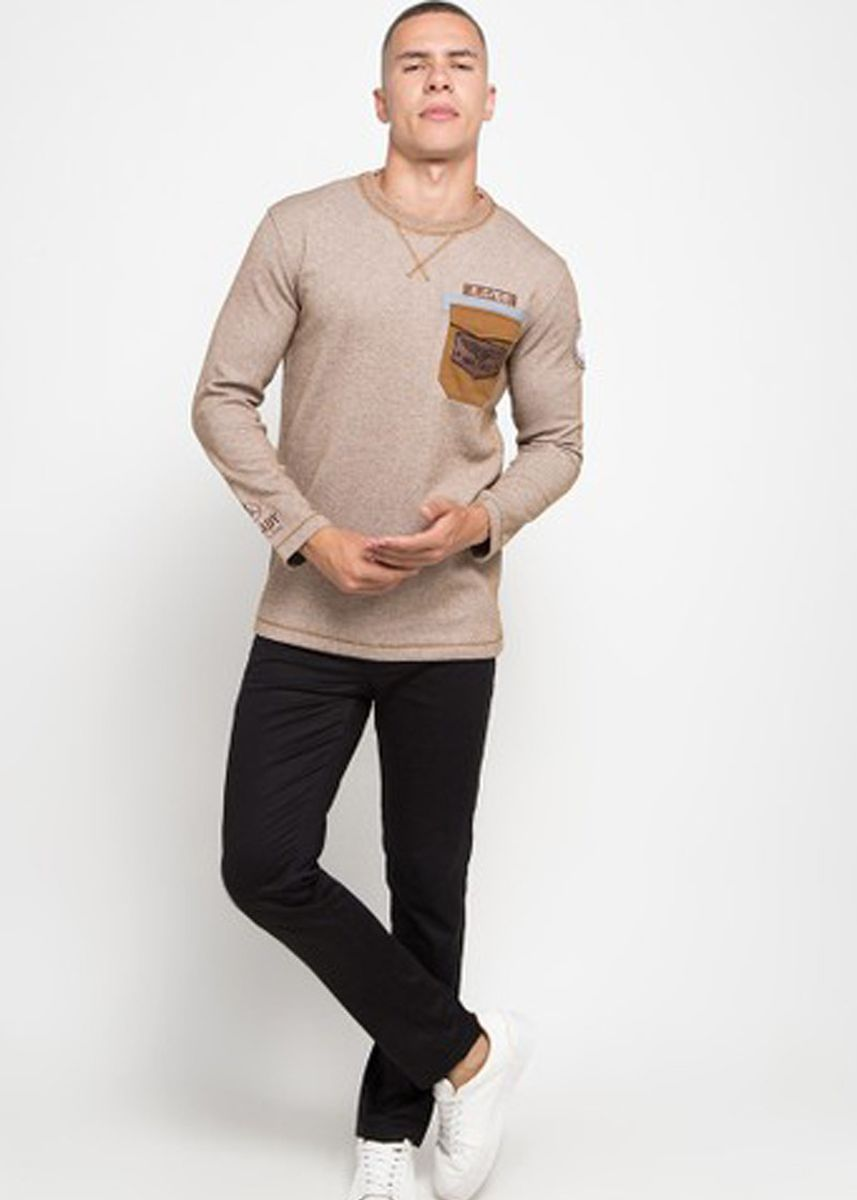 Brown color T-Shirts and Polos . Emba Classic-Albe Men's T-shirt in Brown -
