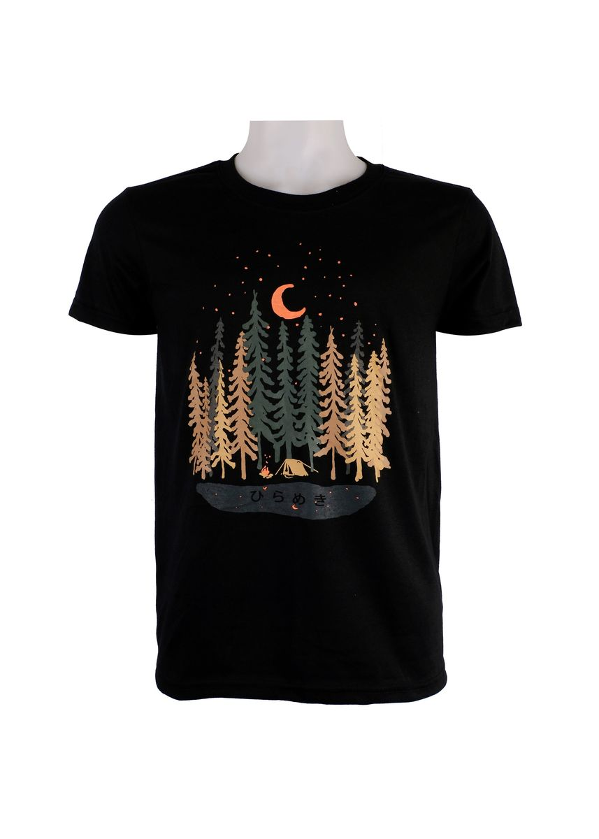 Black color T-Shirts and Polos . INSPI Tees Camping Forest Graphic Tshirt -