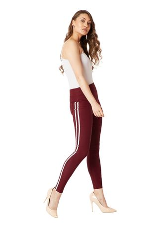 Maroon color Leggings . Two Way Twill High Waist Jeggings -