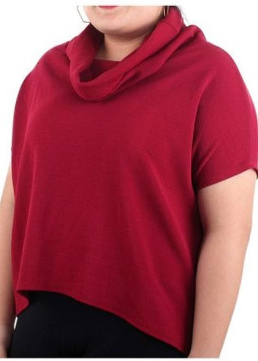 Red color Tops and Tunics . Timeless Manila Curve Atlanta Cowl Crepe -