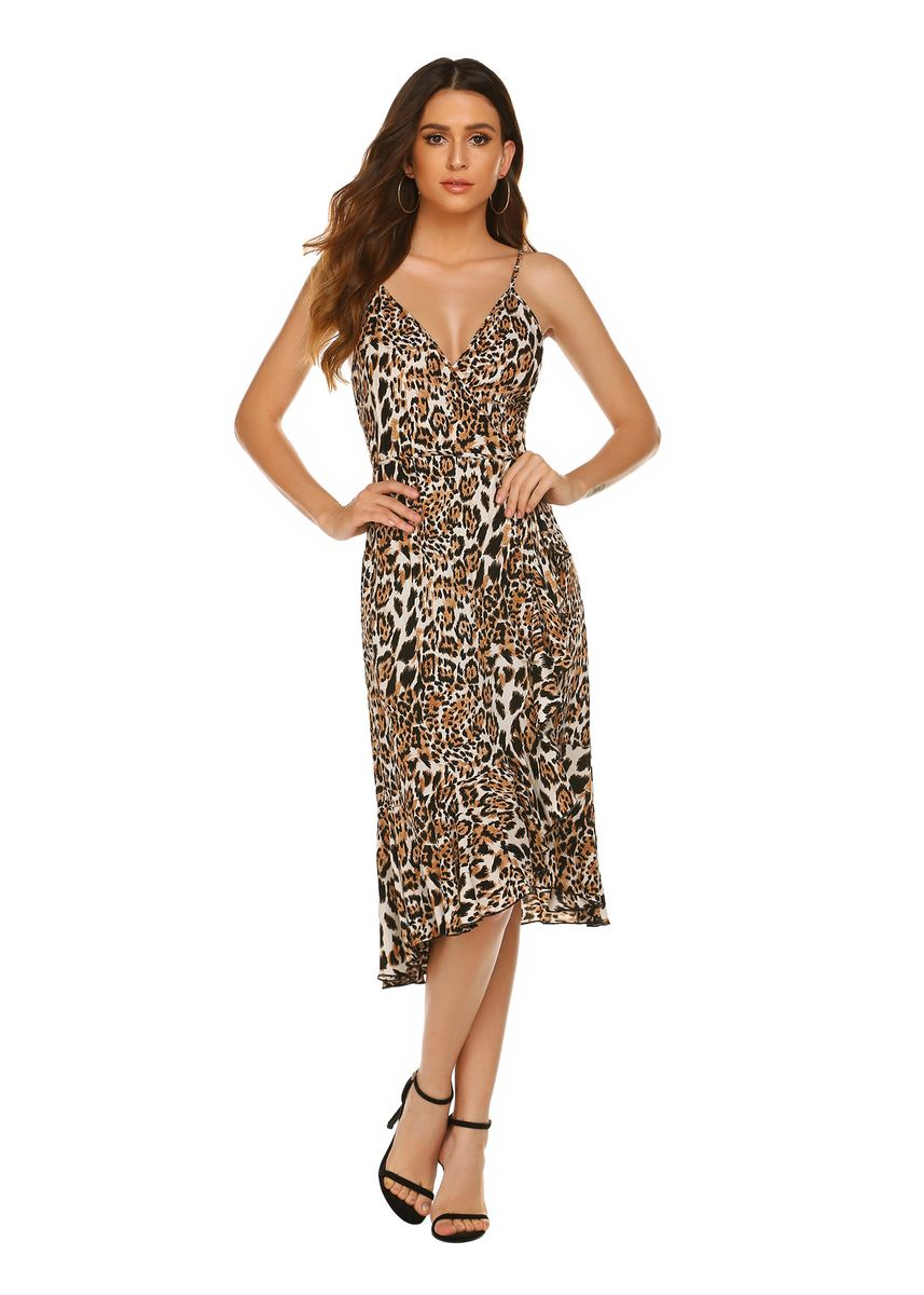 Brown color Dresses . Bohemia Irregular Leopard Slip Dresses -