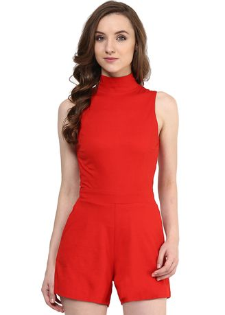 Red color Jump Suits . Up To Here Playsuit -