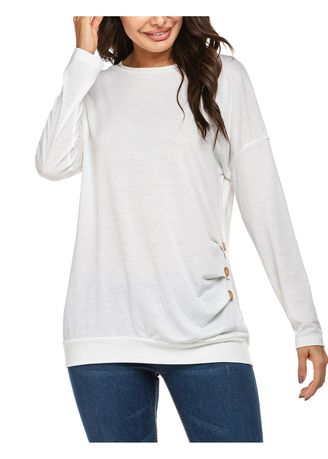 White color Tops and Tunics . Women Long Sleeve Solid T-Shirt Tops -