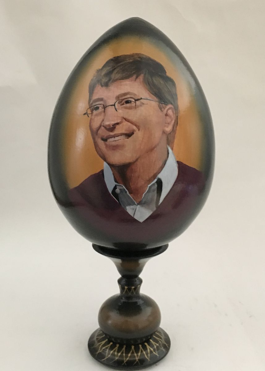 Yellow color Home Decor . Lacquered Art. Wooden Sculpture. Hand-painted. Bill Gates -