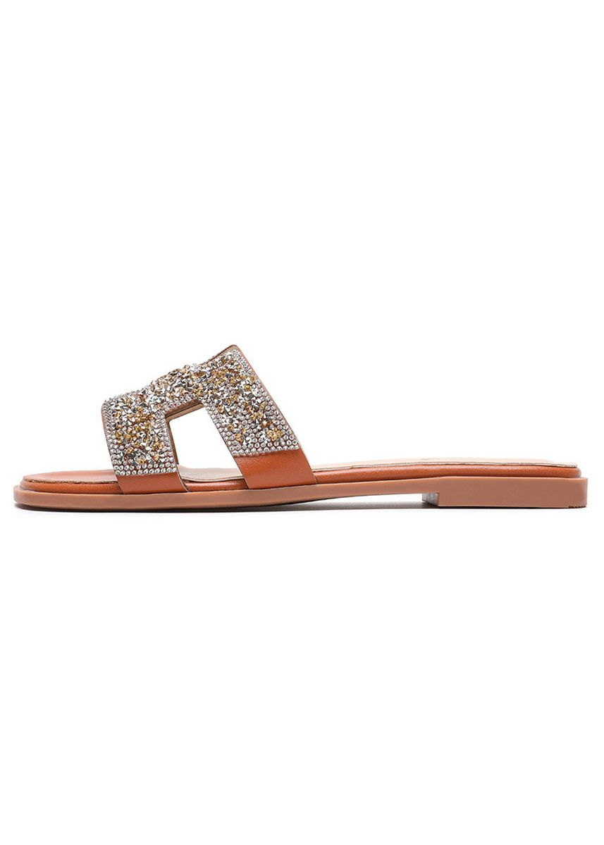 Brown color Sandals and Slippers . Women Bohemia H Design Rhinestone Slippers -