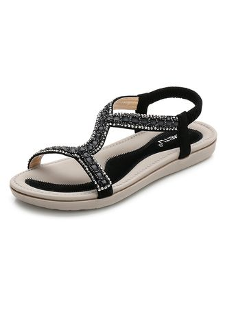 Black color Sandals and Slippers . Women Fashion Rhinestone Flat Sandals -