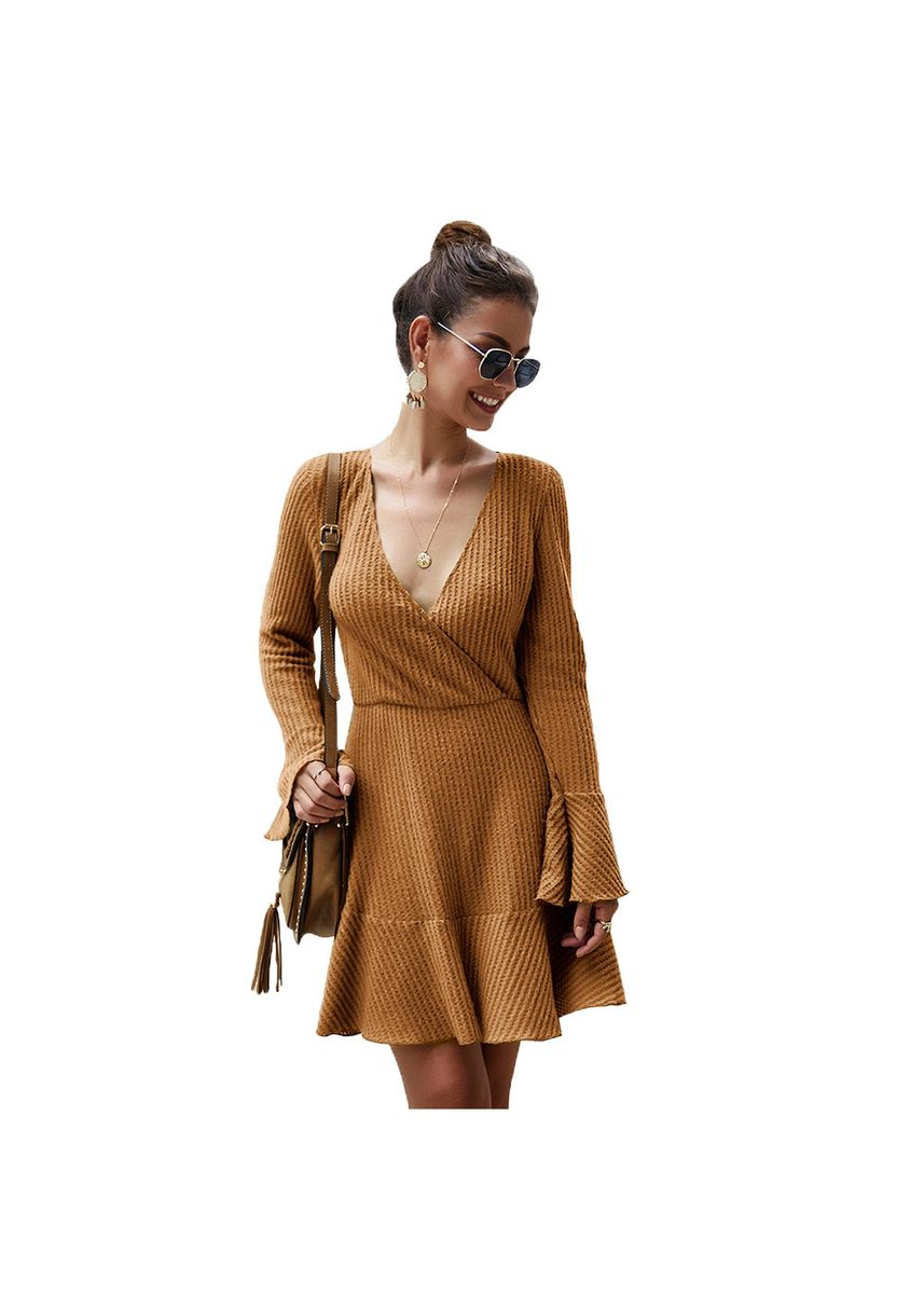 Brown color Dresses . Women's Style Fashionable Knitwear Dress -
