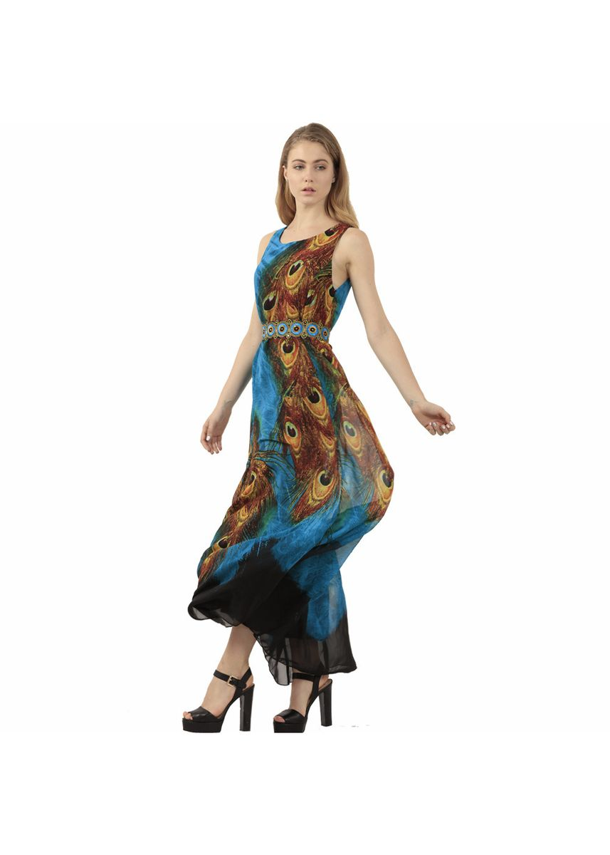 Blue color Dresses . Peacock Feather Printing Dresses -