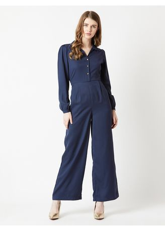 Navy color Jump Suits . Smooth As Satin Jumpsuit -
