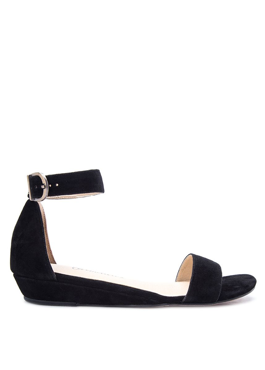 Black color Sandals and Slippers . Carmelletes Low Wedge Ankle Strap Sandals -