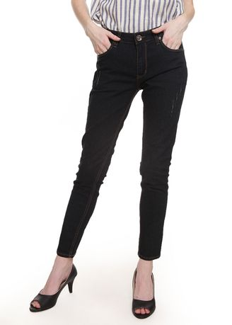Hitam color Celana Jeans .  2nd Red Rips Jeans Skinny Jeans True Black  -
