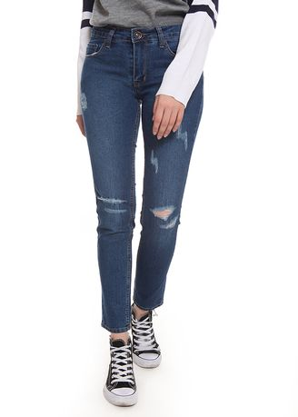 Blue color Jeans .  2nd Red Skinny Rips Jeans Stay Blue  -