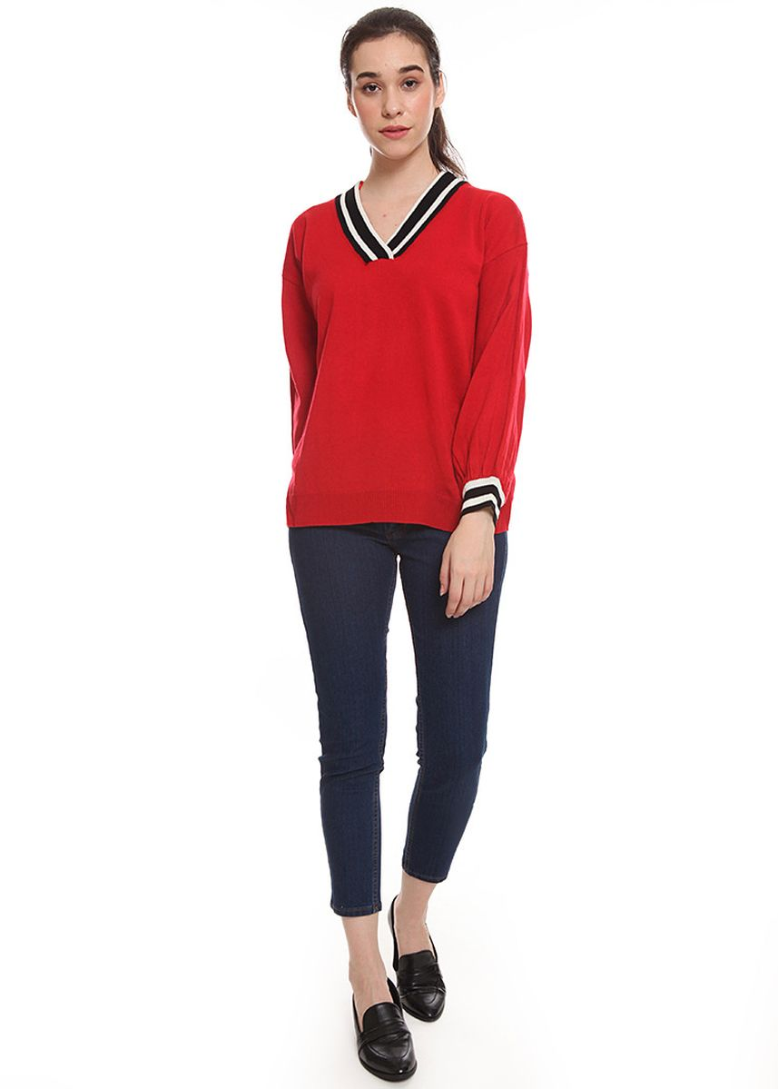 Navy color Jeans .  2nd Red Jeans 7/8 Premium Ankle Deep Blue Contrast Sticting -