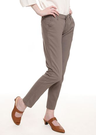 Brown color Trousers .  2nd Red Slim Fit Chinos Trousers Light Brown -
