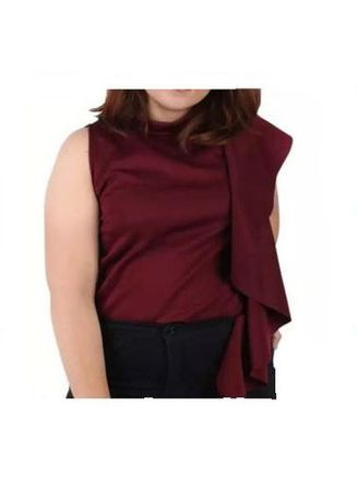 Maroon color Tops and Tunics . Timeless Manila Plus Size Curve Arianna Sleeveless Top -