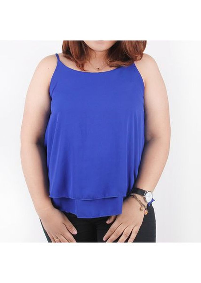 Blue color Tops and Tunics . Timeless Manila Curve Cynara Sleeveless Top -