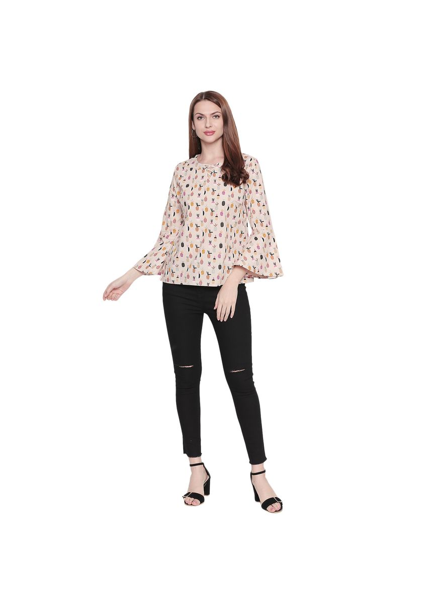 Yellow color Tops and Tunics . Pineapple Printed Full Sleeve Top -