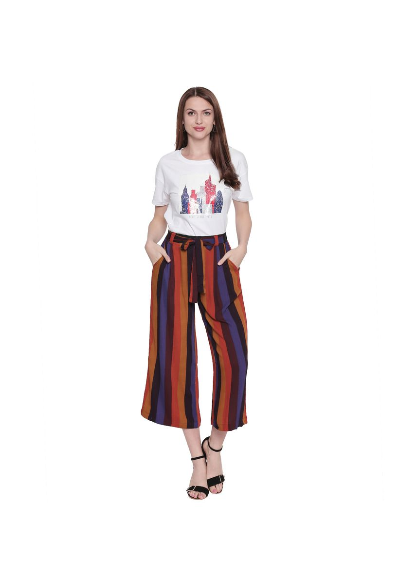 Multi color Trousers . Printed Palazzo -