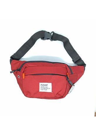 Maroon color Messenger Bags . Waistbag Pria Pushop Mini risvalt Polos Full Color -