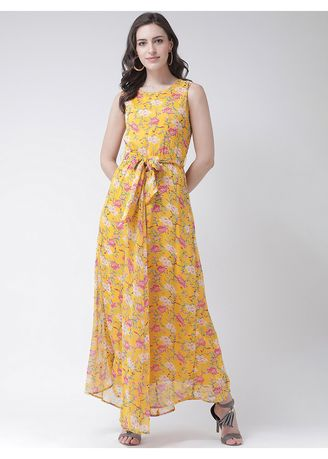 Yellow color Dresses . The Vanca Women's Floral Printed Woven Maxi Dress -