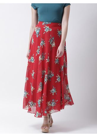 Red color Skirts . The Vanca Women's Comfort Fit Fashion Printed Skirt -