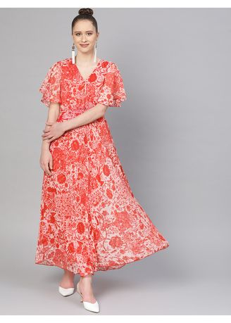 Red color Dresses . The Vanca Women's Flared Maxi Dress -