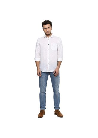 White color T-Shirts and Polos . Men's Slim -Fit Casual Shirt -