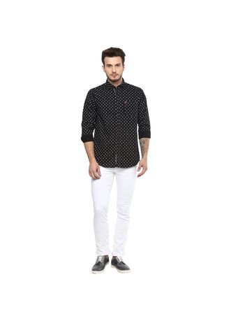 Black color T-Shirts and Polos . Men's Slim-Fit Printed Shirt -