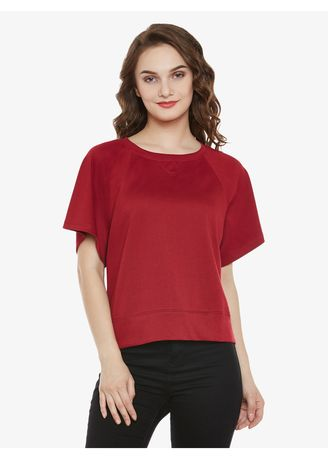Maroon color Tops and Tunics . A Walk With Me Top -