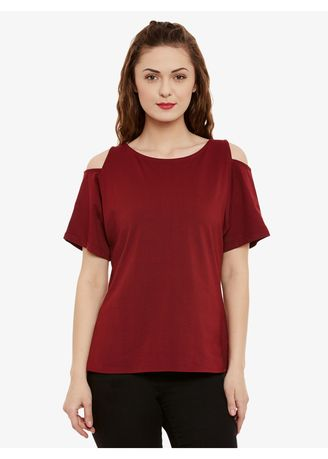 Maroon color Tops and Tunics . Take A Picture Shoulder Cut Out Top -