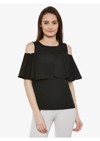 Black color Tops and Tunics . You Got This Frill Cold Shoulder Top -