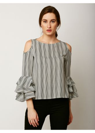 Multi color Tops and Tunics . Time Cannot Wait Ruffle Sleeve Top -