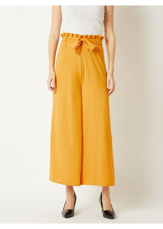 Yellow color Trousers . Overtime Loving Paper Bag Flare Pants -