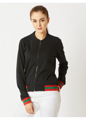 Black color Jackets . Little Do You Know Rib Jacket -
