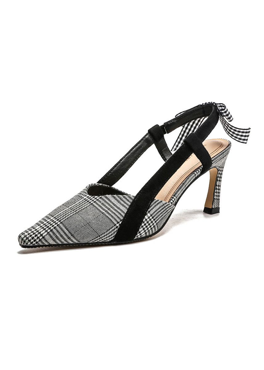 Grey color Heels . Women's Point Hounds tooth Bow knot High Heels  -