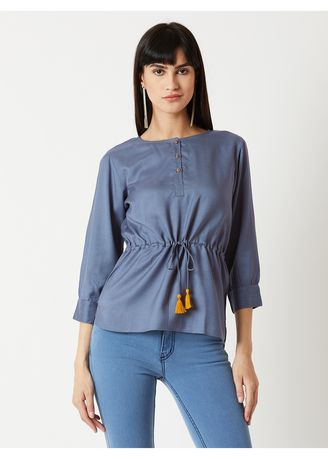 Grey color Tops and Tunics . Real Compliments Tie Up Top -
