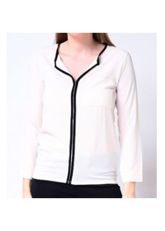 White color Tops and Tunics . Uropa Long Sleeve Split Neckline Top -