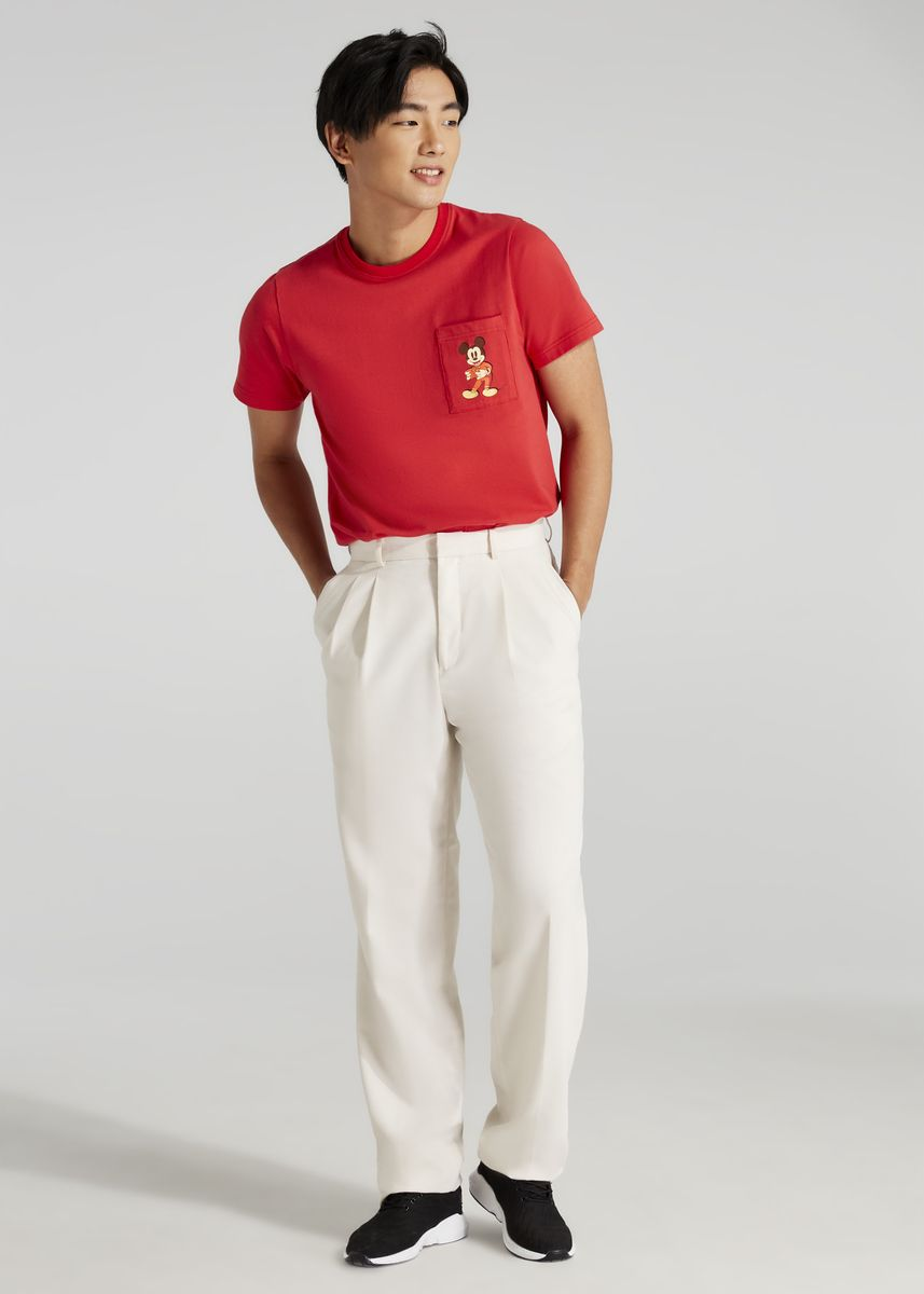 Red color T-Shirts and Polos . Disney's Mickey Mouse Print T-shirt with Patch Pocket -