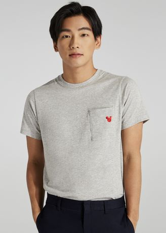 Grey color T-Shirts and Polos . Disney's Mickey Mouse Print Grey T-shirt with Patch Pocket -