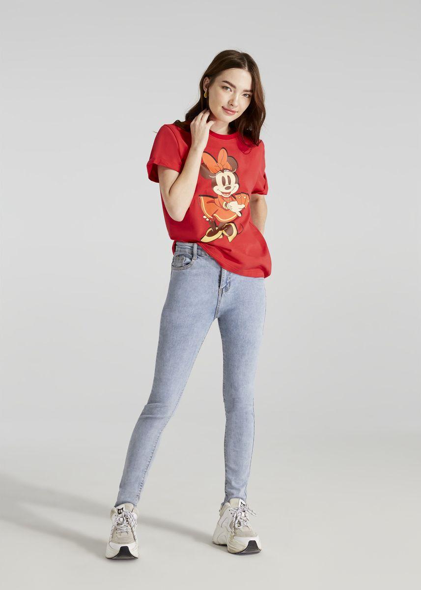 Red color Tees & Shirts . Disney's Minnie Mouse Print T-shirt with Upturned Sleeve Hems -
