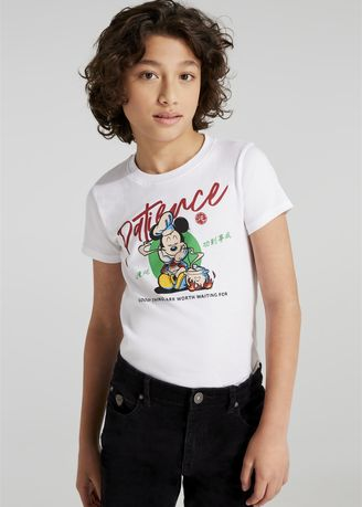 White color Tops . Disney's Mickey Mouse Print Round-Neck T-shirt -