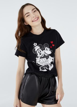 Black color Tees & Shirts . Disney's Mickey & Minnie Friends Print Round-Neck T-shirt -